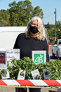 outdoors famers market plants seller during Covid 19 crisis France Limoux April 2020