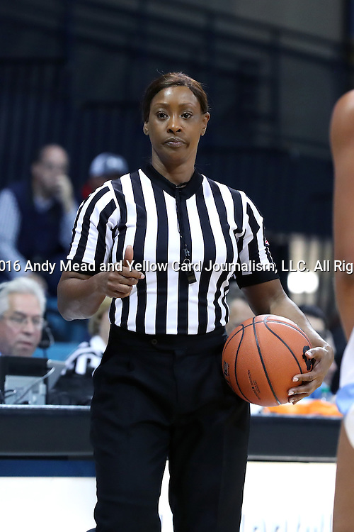 22 November 2016: Referee Carla Fountain. The University of North Carolina Tar Heels hosted the Charleston Southern University Buccaneers at Carmichael Arena in Chapel Hill, North Carolina in a 2016-17 NCAA Women's Basketball game. UNC won the game 93-77.