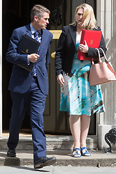 London, July 4th 2017. Chief Whip (Parliamentary Secretary to the Treasury) Gavin Williamson and Secretary of State for Culture, Media and Sport Karen Bradley leave the weekly cabinet meeting at 10 Downing Street in London.