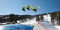 Nate Miceli gets a chance to practice his jumps before heading into the terrain park using Gunstock Mountain Resort's new Big Air Bag Wednesday afternoon.  (Karen Bobotas/for the Laconia Daily Sun)