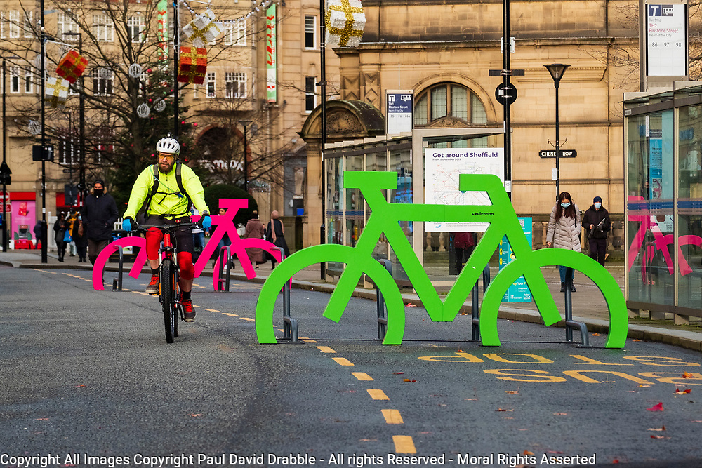 Signs in the shape of over sized bikes close to the peace gardens in Sheffield<br /> <br /> 05 January 2020<br /> <br /> www.pauldaviddrabble.co.uk<br /> All Images Copyright Paul David Drabble - <br /> All rights Reserved - <br /> Moral Rights Asserted -