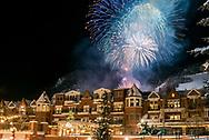 New Year's Eve fireworks over the Hyatt Grand Aspen hotel in Aspen, Colorado.