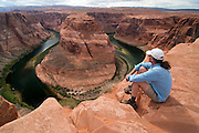 View of Horseshoe Bend on the Colorado River, near Page, Arizona; afternoon, June