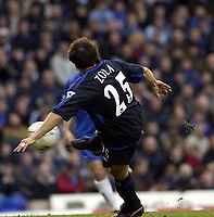 Copyright Sportsbeat. 0208 3926656<br />Picture: Henry Browne<br />Date: 8/02/2003<br />Birmingham v Chelsea FA Barclaycard Premiership<br />Gianfranco Zola scores Chelsea's first goal