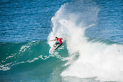 Rookie Frederico Morais of Portugal advanced to the semifinals of the Corona Open J-Bay after defeating reigning World Champion John John Florence of Hawaii in Quarterfinal Heat 2 in pumping overhead conditions at Supertubes, Jeffreys Bay, South Africa.