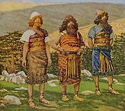 SHEM, HAM AND JAPHETH. Genesis. ix. 18.<br /> 'And the sons of Noah, that went forth of the ark, were Shem, and Ham, and Japheth. From the book ' The Old Testament : three hundred and ninety-six compositions illustrating the Old Testament ' Part I by J. James Tissot Published by M. de Brunoff in Paris, London and New York in 1904