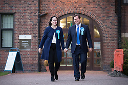 © Licensed to London News Pictures . 06/06/2014 . Newark , Nottinghamshire , UK . Conservative candidate and winner , Robert Jenrick (r) leaves the count with his wife Michal Jenrick . The count for the Newark by-election at Kelham Hall , Newark , this morning (Friday 6th June 2014) . Photo credit : Joel Goodman/LNP