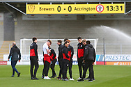 Accrington Players arrive at the stadium during the EFL Sky Bet League 1 match between Burton Albion and Accrington Stanley at the Pirelli Stadium, Burton upon Trent, England on 23 March 2019.