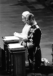 07/06/1977. Queen Elizabeth II and the Duke of Edinburgh kneeling in St Paul's Cathedral during the special thanksgiving service to mark her Silver Jubilee. The Royal couple will celebrate their platinum wedding anniversary on November 20.