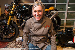 Nicola Martini at his Mr. Martini Friday night party celebrating the opening of his bar / restaurant at the workshop during the Motor Bike Expo. Verona, Italy. January 22, 2016.  Photography ©2016 Michael Lichter.