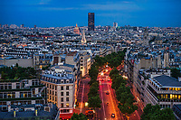 Avenue Marceau & Rooftops of Paris, Evening