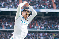Real Madrid Cristiano Ronaldo celebrating a goal during La Liga match between Real Madrid and Atletico de Madrid at Santiago Bernabeu Stadium in Madrid, Spain. April 08, 2018. (ALTERPHOTOS/Borja B.Hojas)
