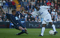Fotball<br /> England 2004/2005<br /> Foto: SBI/Digitalsport<br /> NORWAY ONLY<br /> <br /> Tranmere Rovers v Hartlepool<br /> <br /> Coca-Cola League One Play-Off Semi-Final 2nd Leg. <br /> 17/05/2005. <br /> <br /> Eugene Dadi of Tranmere has his shot blocked by Michael Barron of Hartlepool.