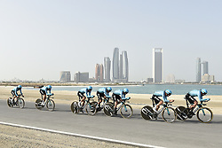 February 24, 2019 - Abu Dhabi, Emirati Arabi Uniti, Emirati Arabi Uniti - Foto LaPresse - Fabio Ferrari.24 Febbraio 2019 Abu Dhabi (Emirati Arabi Uniti).Sport Ciclismo.UAE Tour 2019 - Tappa 1 - Da Al Hudayriat Island a Al.Hudayriat Island - Crono squadre 16 km.Nella foto: ASTANA..Photo LaPresse - Fabio Ferrari.February 24, 2019 Abu Dhabi (United Arab Emirates) .Sport Cycling.UAE Tour 2019 - Stage 1 - From Al Hudayriat Island to.Al Hudayriat Island - TTT 9,9 miles.In the pic: ASTANA (Credit Image: © Fabio Ferrari/Lapresse via ZUMA Press)