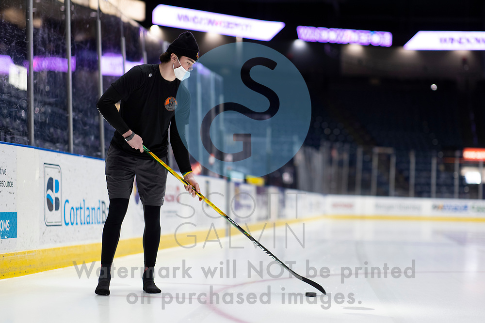 Youngstown Phantoms lose 5-4 to the Dubuque Fighting Saints at the Covelli Centre on March 13, 2021.<br /> <br /> Mike Brown, defenseman, 2