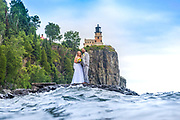 One Elizabeth came to me she told me of her Love or obsession with Lighthouses I was intrigued. She said she wanted to be photographed with Splitrock Lighthouse behind her and Thomas. I immediately thought of my fellow photographer friend, Christian Dalbec who is renowned for hi underwater photos. Though not a portrait or wedding photographer he was a bit resistant until I assured him that I would be there directing the couple as he shot from in the water.  Lake Superior cooperated with a robust sea that morning and even I was able to get a few of these shots from the shoreline. I believe they were thrilled with the result!  We were!