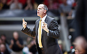SHOT 1/21/12 6:18:56 PM - Colorado head basketball coach Tad Boyle coaches against Arizona during their PAC 12 regular season men's basketball game at the Coors Events Center in Boulder, Co. Colorado won the game 64-63..(Photo by Marc Piscotty / © 2012)