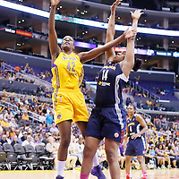 03 August 2014: Los Angeles Sparks center Jantel Lavender (42) goes for the jump shot against Connecticut Sun forward/center Kelsey Bone (14) during the Los Angeles Sparks 70-69 victory over the Connecticut Sun, at the Staples Center, Los Angeles, California, USA.