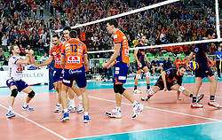 Players during volleyball match between ACH Volley LJUBLJANA and Budvanska Rivijera BUDVA.of 2012 CEV Volleyball Champions League, Men, League Round in Pool F, 2nd Leg, on October 26, 2011, in Arena Stozice, Ljubljana, Slovenia.  ACH Volley defeated Budvanska Rivijera 3-2. (Photo by Vid Ponikvar / Sportida)