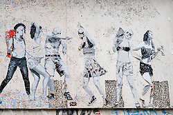 Street art on wall in Mitte district in Berlin Germany