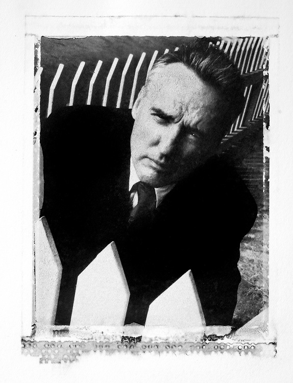 Portrait of actor Dennis Hopper, at his Venice CA home. (Polaroid transfer print).