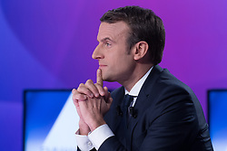 French presidential election candidate for the En Marche ! movement Emmanuel Macron takes part in a special political TV show entitled '15mn to convince' at the studios of French television channel France 2 in Saint-Cloud, west of Paris, on April 20, 2017, a few days ahead of the first round of the presidential election. Photo by Pierre Villard/Pool/ABACAPRESS.COM