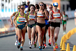 Australia's Jemima Montag, New Zealand's Alana Barber and Wales' Bethan Davies compete in the Women's 20km Race Walk Final at Currumbin Beachfront during day four of the 2018 Commonwealth Games in the Gold Coast, Australia.