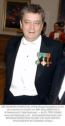 MR NORMAN ROSENTHAL of the Royal Academy of Art, at a dinner in London on 30th May 2002.PAN 2
