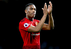 Manchester United's Anthony Martial applauds the fans at the end of the Premier League match at Old Trafford, Manchester.