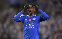 Leicester City's Kelechi Iheanacho rues a missed chance during the Premier League match at the King Power Stadium, Leicester.