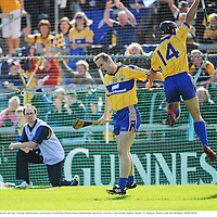 22 June 2008; Barry Nugent, left, and Tony Carmody celebrate Clare's fourth goal. GAA Hurling Munster Senior Championship Semi-Final, Limerick v Clare, Semple Stadium, Thurles, Co. Tipperary. Picture credit: Ray McManus / SPORTSFILE
