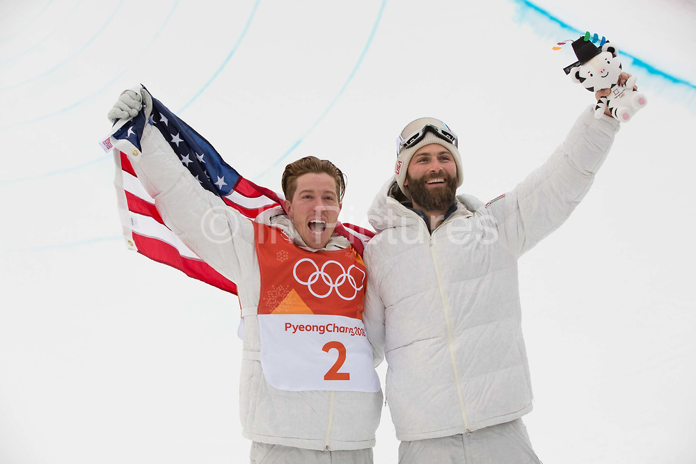Shaun White, USA, celebrates winning the mens Snowboard Halfpipe competition during the Pyeongchang Winter Olympics on 14th February 2018 in South Korea