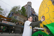 An event organized by Greenpeace Austria and Global 2000 against genetically altered food at and around the Hundertwasser House, the first and most famous public housing project by Austrian artist and architekt Friedensreich Hundertwasser.