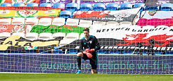 CARDIFF, WALES - Sunday, September 6, 2020: Wales' goalkeeper Wayne Hennessey kneels down (takes a knee) in support of the Black Lives Matter movement before during the UEFA Nations League Group Stage League B Group 4 match between Wales and Bulgaria at the Cardiff City Stadium. (Pic by David Rawcliffe/Propaganda)