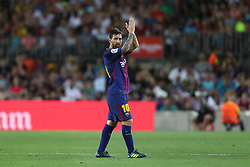 August 7, 2017 - Barcelona, Spain - Lionel Messi of FC Barcelona applauds supporters as he walks off after being substituted during the 2017 Joan Gamper Trophy football match between FC Barcelona and Chapecoense on August 7, 2017 at Camp Nou stadium in Barcelona, Spain. (Credit Image: © Manuel Blondeau via ZUMA Wire)
