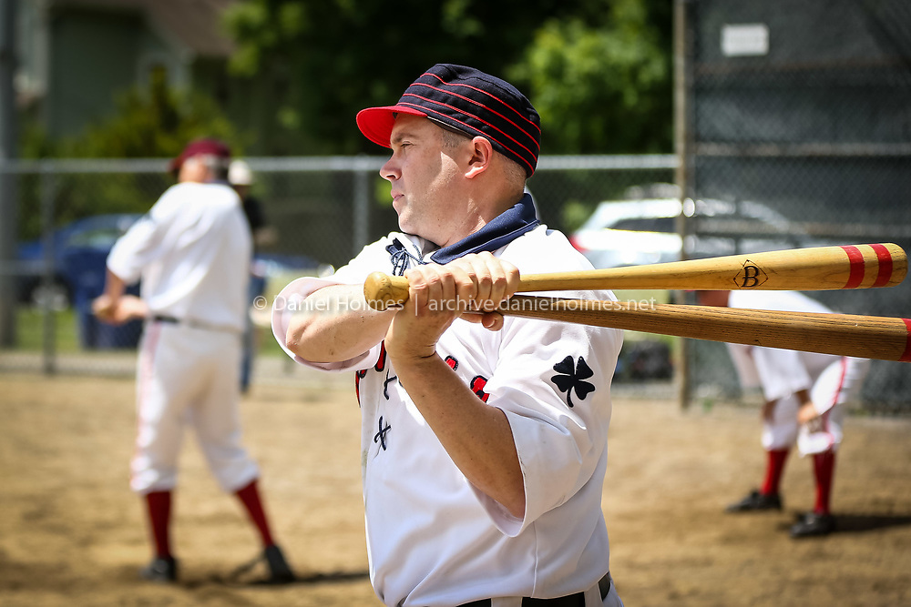 (5/25/14, WAYLAND, MA) Holliston Mudville Baseball Club's Mike DeFazio takes some practice swings during the old time baseball game against the Dirigo Vintage Baseball Club of Maine at Cochituate ball field in Wayland on Sunday. Teams appeared in old-time baseball uniforms and period equipment, and the game was played under the original 1858-1860 baseball rules and customs. Daily News and Wicked Local Photo/Dan Holmes