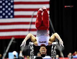 Aug 8, 2019; Kansas City, MO, USA; Sam Mukulak performs on the parallel bars during the 2019 U.S. Gymnastics Championships at Sprint Center. Mandatory Credit: Denny Medley-USA TODAY Sports