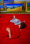 Red bed and sleep in art room of painter,