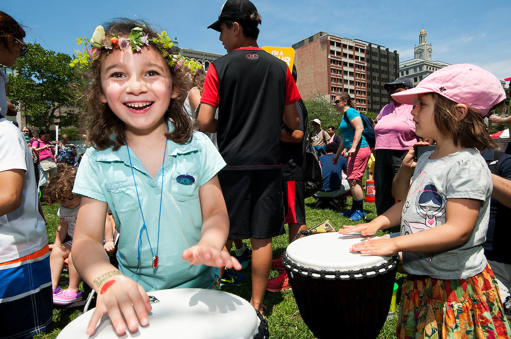 Kids enjoying a hands on drumming session at the Hubbub Festival.