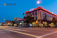 Kailspell Grand Hotel on Main Street at dusk in Kalispell, Montana, USA
