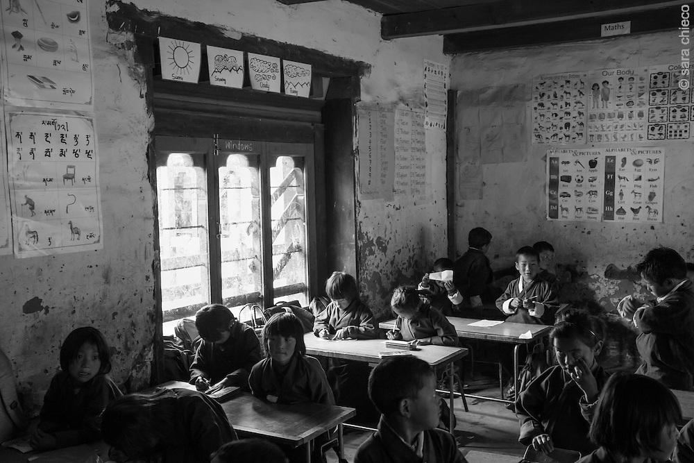 School Children in Tabating, Phobjika Valley, Bhutan 2014