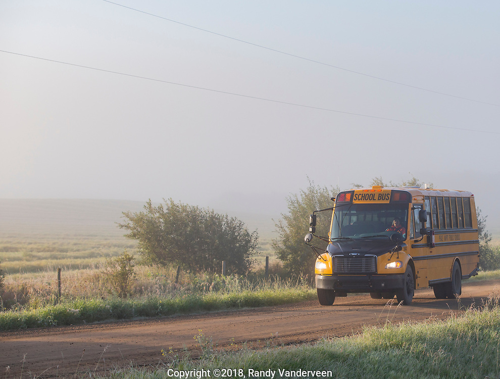 Photo Randy Vanderveen<br /> County of Grande Prairie, Alberta<br /> 2018-09-04<br /> A Peace Wapiti School Division bus driver wheels her unit home after making the first run of the school year in the Peace Country Tuesday morning.