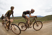 Luca Zanasca (left) from Italy climbing a mountain pass during stage 2 of the 2014 Absa Cape Epic Mountain Bike stage race from Arabella Wines in Robertson, South Africa on the 25 March 2014<br /> <br /> Photo by Greg Beadle/Cape Epic/SPORTZPICS