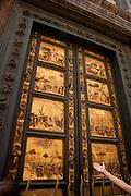 Gates of Paradise golden doors, by Lorenzo Ghiberti on the Florence Baptistry or Baptistery of Saint John
