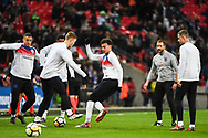 England Midfielder Dele Alli (20) and the England team warm up ahead of the Friendly match between England and Italy at Wembley Stadium, London, England on 27 March 2018. Picture by Stephen Wright.