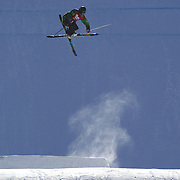 Cyrill Hunziker, Switzerland,  in action in the Men's Slopestyle Finals during The North Face Freeski Open at Snow Park, Wanaka, New Zealand, 2nd September 2011. Photo Tim Clayton..