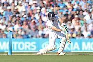 Wicketkeeper Jos Buttler of England plays a shot during the 3rd day of the Investec Ashes Test match between England and Australia at the Oval, London, United Kingdom on 22 August 2015. Photo by Phil Duncan.