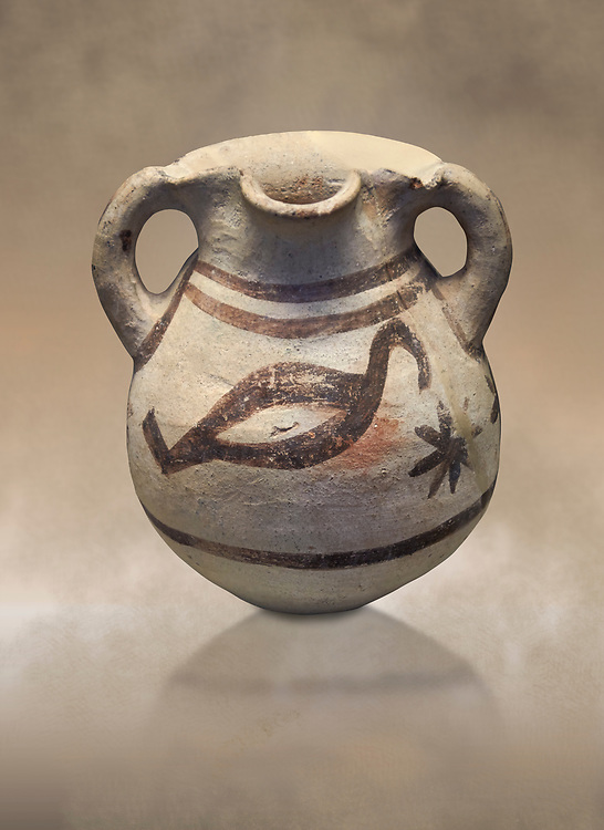 Cycladic amphora with bird decoration.  Cycladic III (2300-2000 BC) , Phylakopi, Melos. National Archaeological Museum Athens. cat no 5748. <br /> <br /> During this Ctcladic period pottery was predominatly monochrome and brnished , this amphora is a rare example of bird decorated pottery from the era .<br /> <br /> If you prefer to buy from our ALAMY PHOTO LIBRARY  Collection visit : https://www.alamy.com/portfolio/paul-williams-funkystock/cycladic-art-artefacts.html Type into the LOWER SEARCH WITHIN GALLERY box to refine search by adding background colour, place, museum etc<br /> <br /> Visit our CYCLADIC CIVILISATIONS PHOTO COLLECTIONS for more photos to download or buy as wall art prints https://funkystock.photoshelter.com/gallery-collection/Cycladic-civilisation-Ancient-Greek-Artefacts-art-Photos-Pictures-Images/C0000CmevVvnC.XU