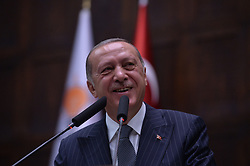 October 2, 2018 - Ankara, Turkey - Turkey's President Recep Tayyip Erdogan addresses deputies of his ruling Justice and Development Party (AKP) at the parliament on October 2, 2018, in Ankara, Turkey. (Credit Image: © Depo Photos via ZUMA Wire)