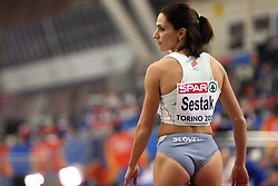 Slovenian triple  jump athlete Marija Sestak in the Qualification when she qualified for finals at the 1st day of  European Athletics Indoor Championships Torino 2009 (6th - 8th March), at Oval Lingotto Stadium,  Torino, Italy, on March 6, 2009. (Photo by Vid Ponikvar / Sportida)